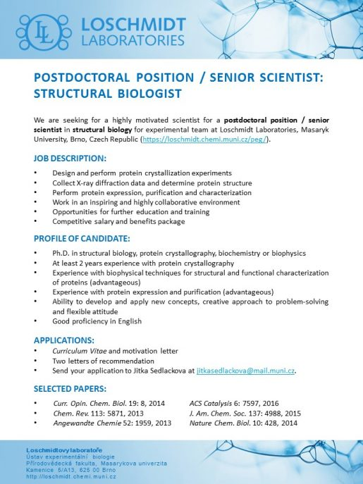 open postdoc position    senior scientist  structural biology